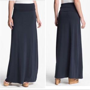 Splendid Navy Fold Over Maxi Skirt
